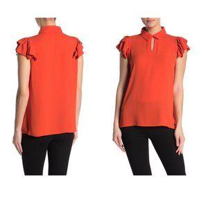 T Tahari Women's Short Sleeve Pleated Blouse